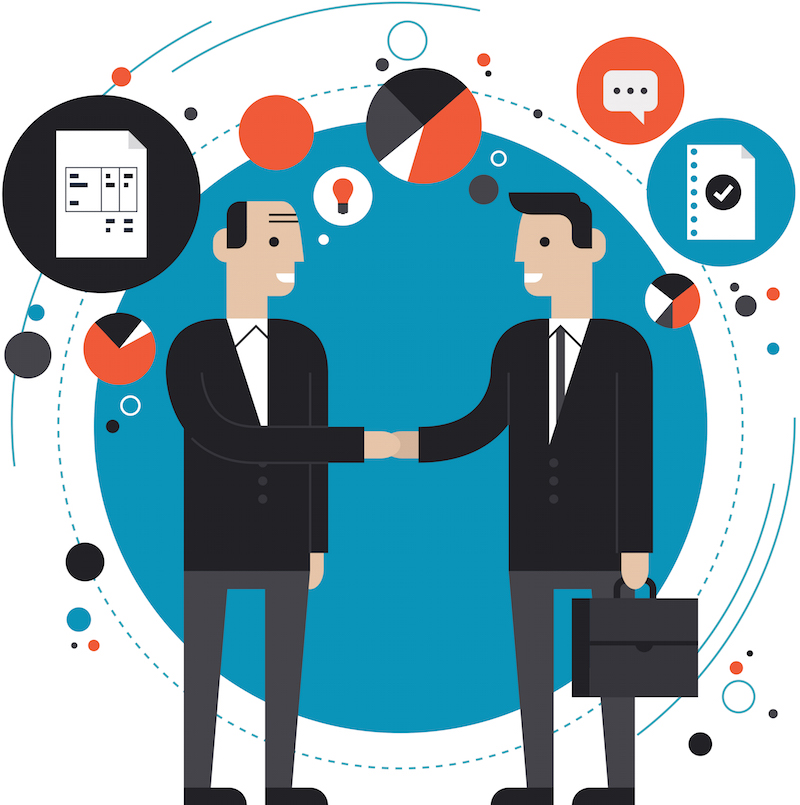 Flat design style modern vector illustration concept of successful financial partnership, business people cooperation agreement, teamwork solution  and h and shaking of two businessman. Isolated on stylish background
