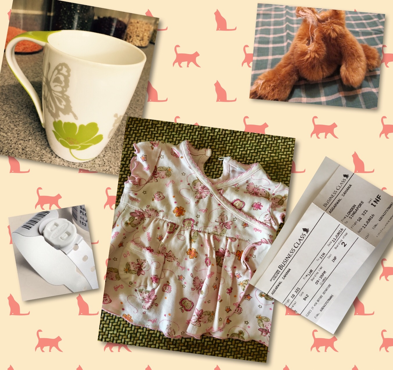 Hoarder or collector- old cup, baby clothes, headless teddy, boarding pass  and hospital tag